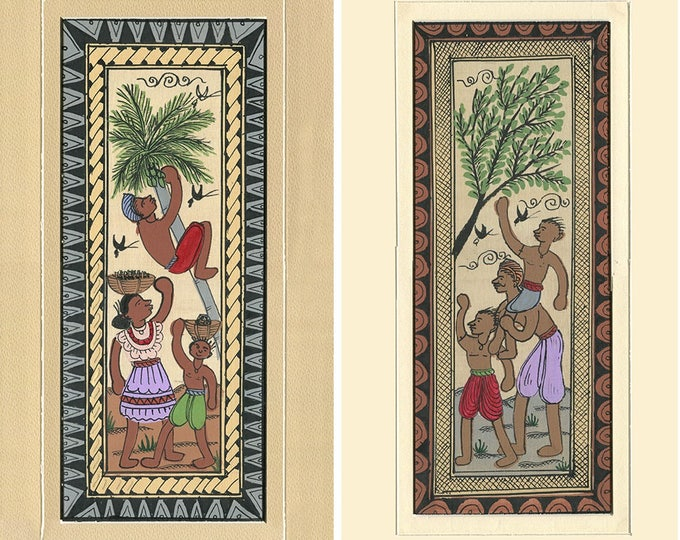 Family Coconut Tree (Set of 2), Art of Rajasthan, Mixed Media