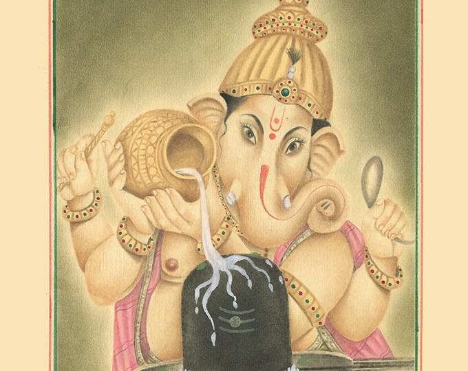 Elephant God Water, Art of Jaipur, Mix Media