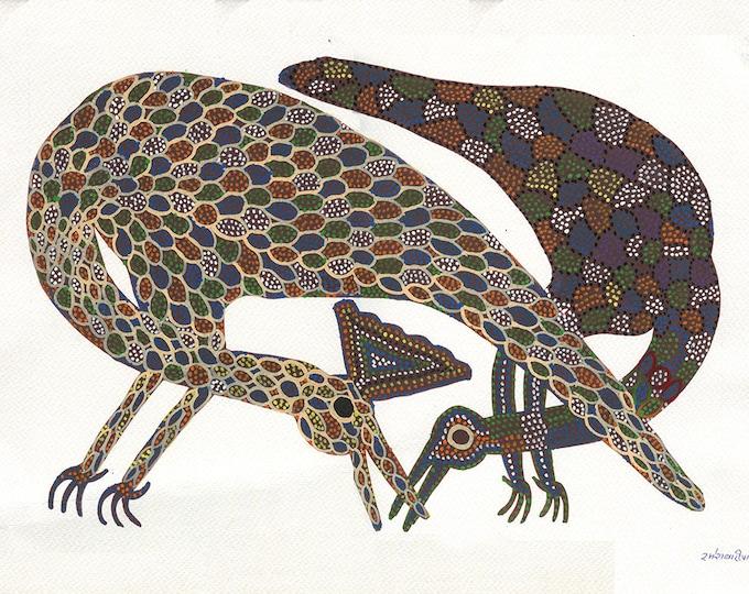 Peacock and Bird, Gond Artwork, Original Acrylic.