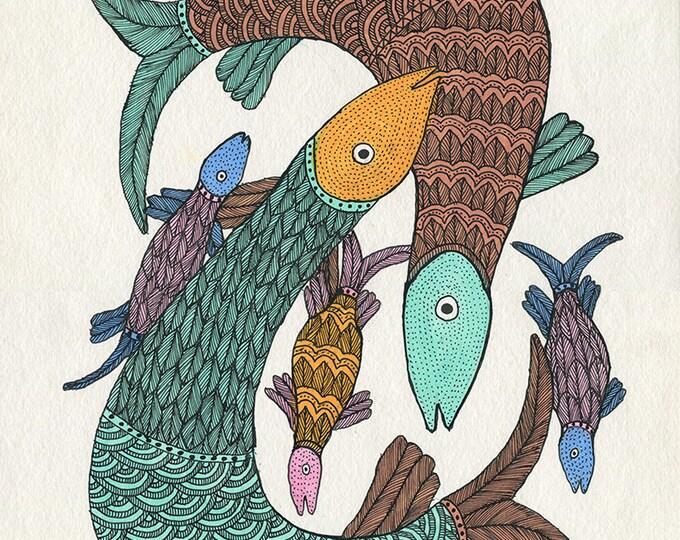 Fishes, Gond Artwork, original acrylic