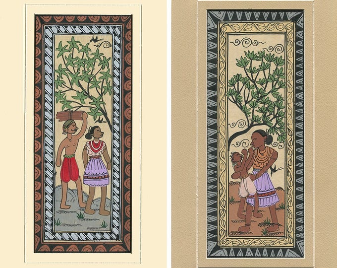 Man, Woman and Child (Set of 2), Art of Rajasthan, Mixed Media