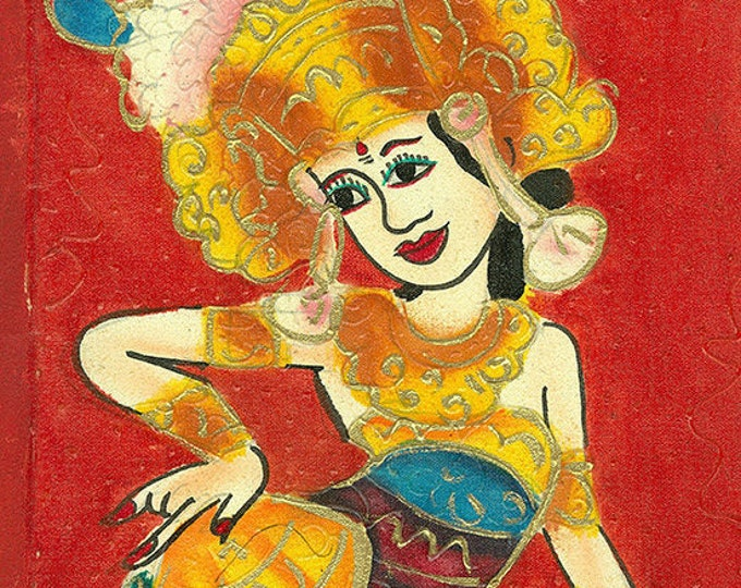 Dancing lady, Indonesian Artwork, Mixed Media, Streatched Canvas Giclee of Traditional Oil on Canvas Balinese Painting; Ready to Hang!