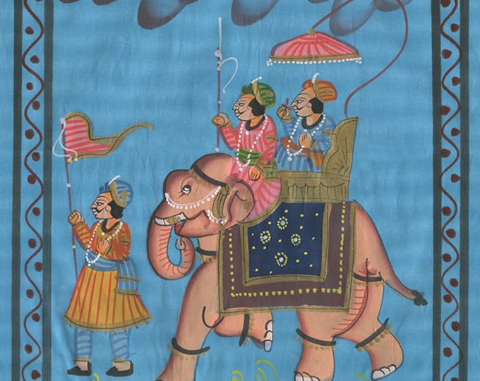 Elephant Blue Fabric, Art of Jaipur, Mixed Media
