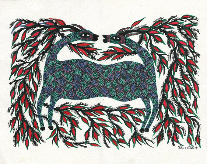 Lama heads, Gond Artwork, Original Acrylic.