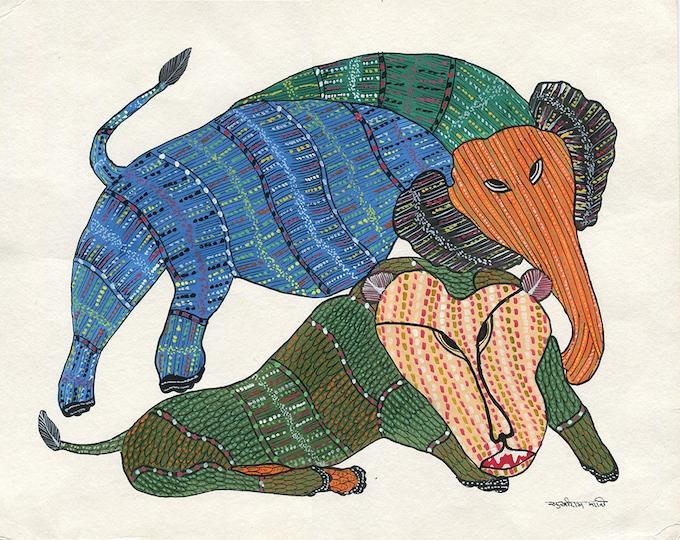 Blended World of Animals, Gond Artwork, Original Acrylic.
