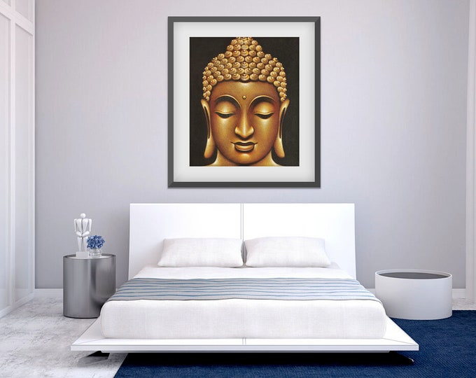 Beautiful Gold and Black Buddha Painting from Bali on Stretched Canvas [Giclee] ; Ready to Hang!