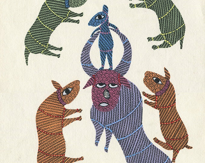 Ox, Gond Artwork, Original Acrylic