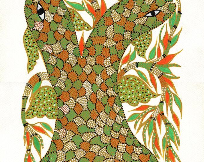 Snakes, Gond Artwork, Original Acrylic.