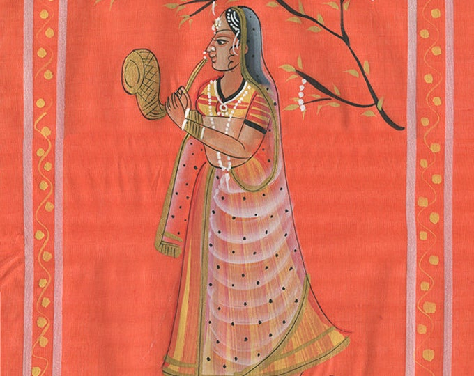 Woman with Horn, Art of Rajasthan, Mixed Media