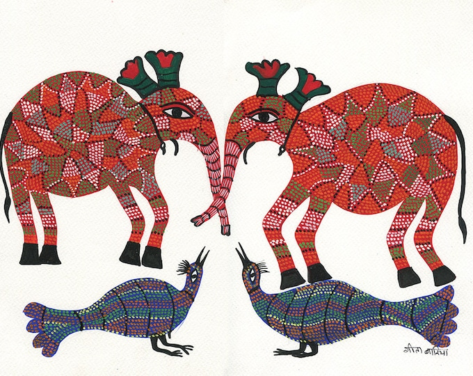 Pinkelephant, Gond Artwork, Original Acrylic.