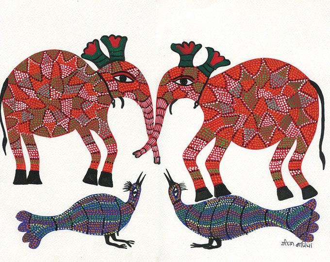 Pinkelephant, Gond Artwork, Original Acrylic.