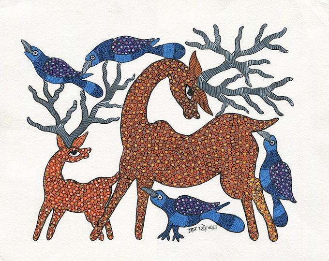 Reindeer Antlers, Gond Artwork, Original Acrylic.