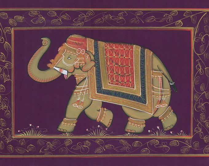 Purple Fabric Elephant, Art of Jaipur, Mixed Media
