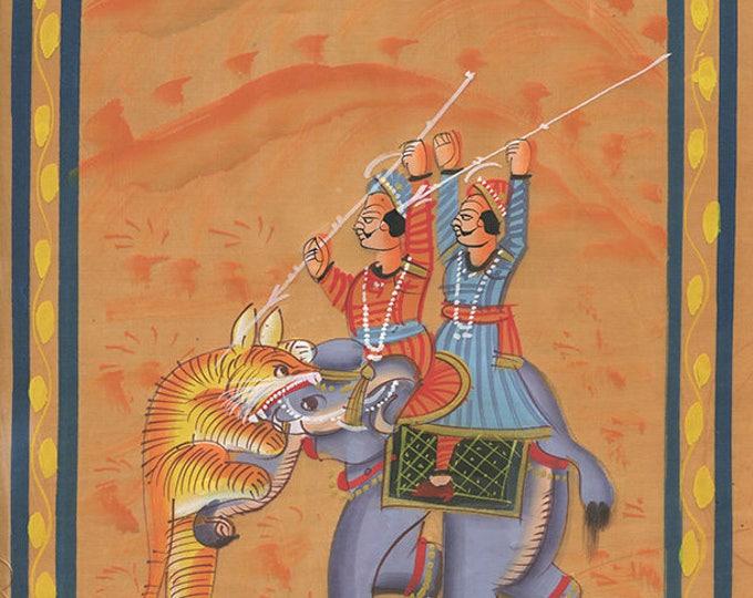 Elephant Tiger, Art of Jaipur, Mixed Media
