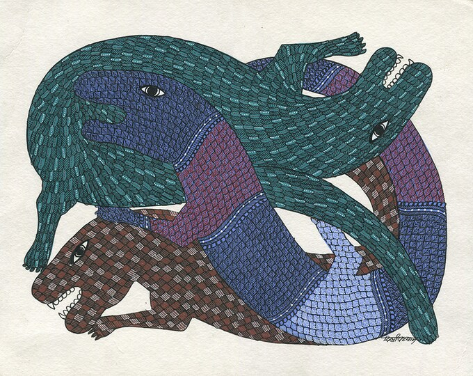 Party of Lizards, Gond Artwork, Original Acrylic.
