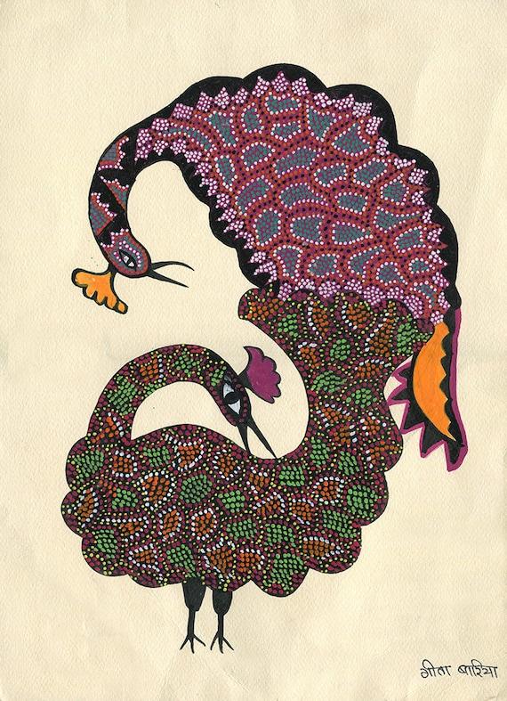 Peacocks Gond Artwork Original Acrylic.