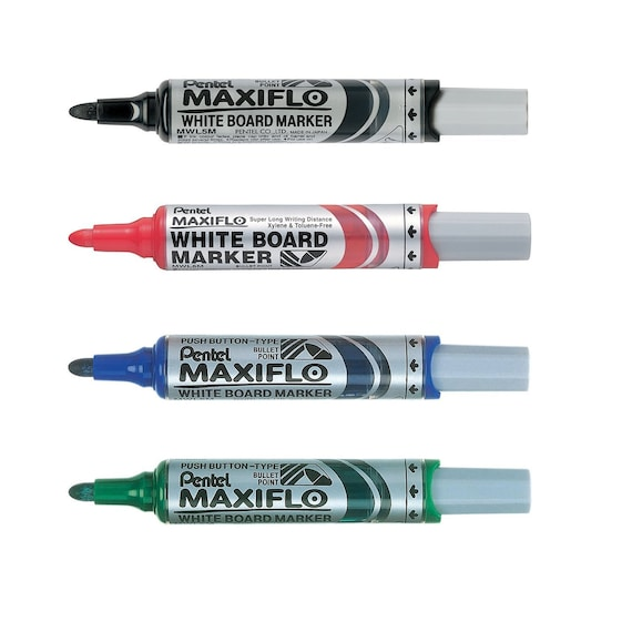 12pcs Pentel MWL5M MAXIFLO Whiteboard Marker - Green Medium Bullet Point