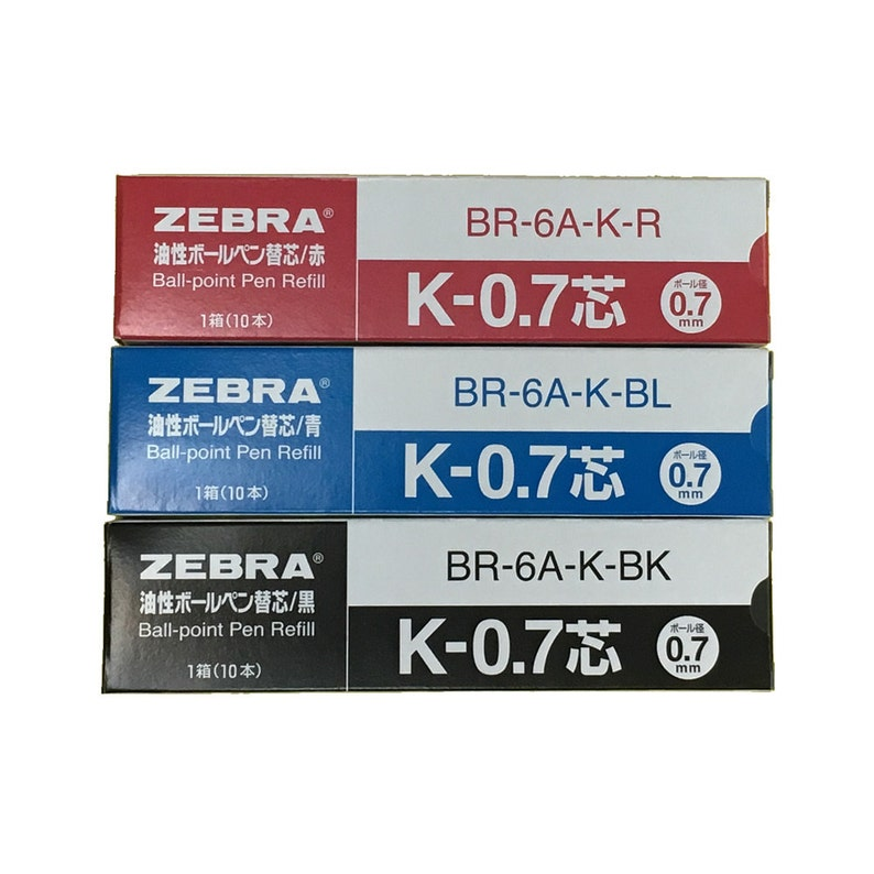 "Zebra /""K-0.7/""  Ball Pen refills x 10 pcs BLUE ink"