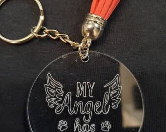 My angel has paws key chain
