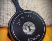 5 Inch Engraved Cast Iron Skillet - 6 Year Anniversary - Tree of Love