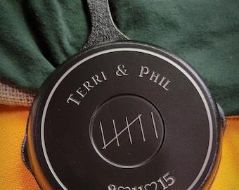 5 Inch Engraved Cast Iron Skillet - Custom 6 Year Anniversary
