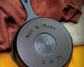 5 Inch Engraved Cast Iron Skillet - Custom Anniversary