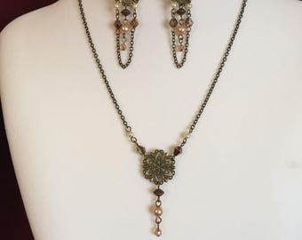 Vintage Blush Necklace and Earrings