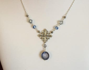 Blue crystal necklace and earring sets