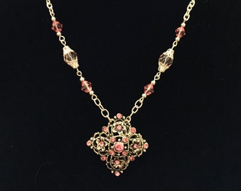 Pink and Silver Charm Necklace and Earring Set