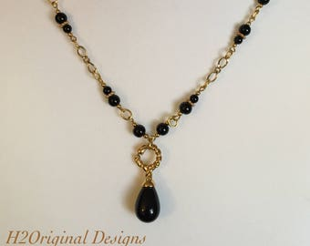 Black and Gold Necklace and Earring Set