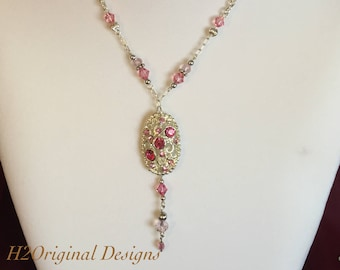 Pink Crystal Charm Necklace and Earring Set