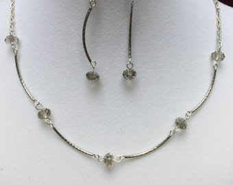 Gray and Silver Beaded Necklace and Earring Set