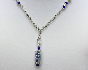 Blue and Silver Necklace and Earring Set