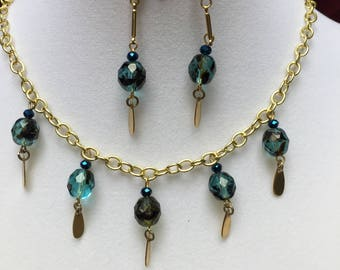 Teal and Gold Necklace and Earring SEt