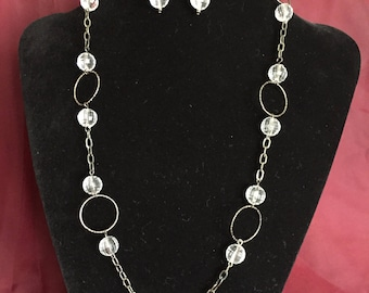 Long Beaded Necklace and Earring Set