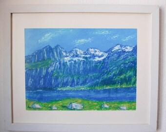 Swiss mountains Oeschinen Lake in Bern - Switzerland art