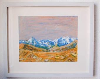 Swiss mountains with village - Switzerland art