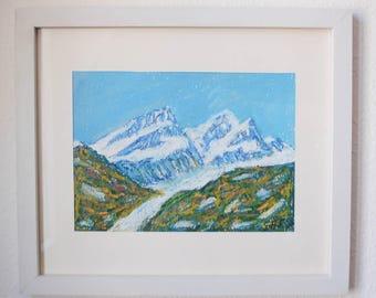 Swiss mountains glacier Rimpfischhorn and Strahlhorn, Zermatt - Switzerland art