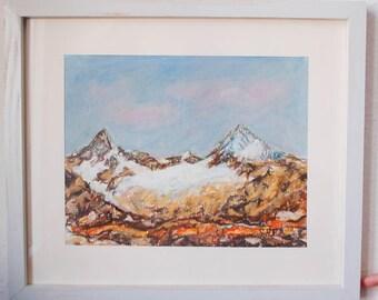 Swiss mountains Breithorn (4164m) and Cervin (4478m), Zermatt - Switzerland art