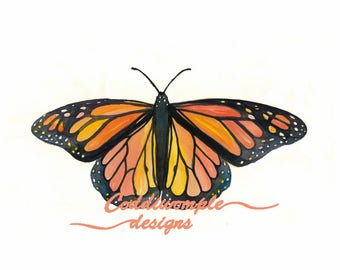 Monarch Butterfly Watercolor Print