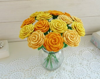 Crochet roses in a vase. Yellow roses. Flower home decor. Rose  arrangement. Artificial decor. Yellow wedding flowers. Flowers for gift.