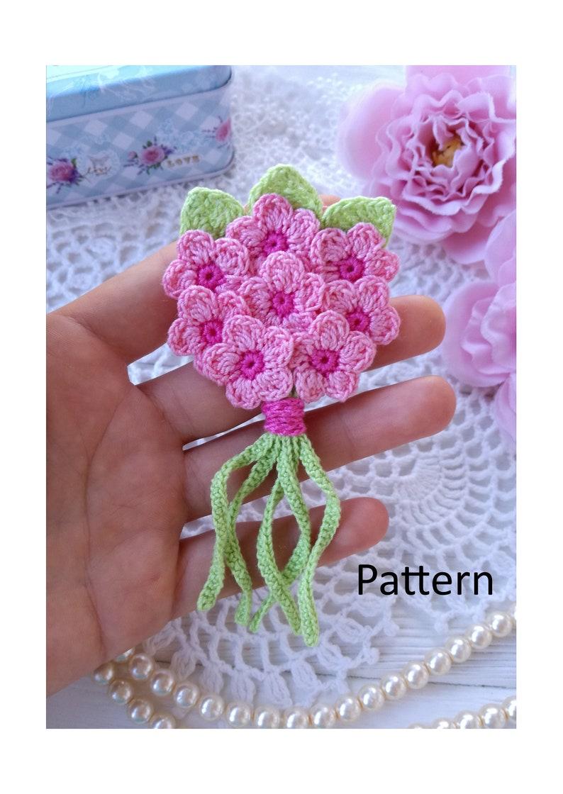 Crochet bouquet PATTERN. Flower pattern. Brooch pattern. image 0