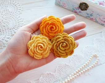 3 crocheted roses. Flowers for craft work. Roses for headband. Yellow roses.Flowers for jewelry.Hand made flowers.3D roses.Scrapbook flowers