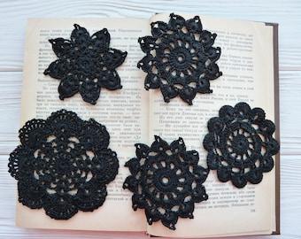 5 black crochet doilies. Scrap doily. Craft doily. Dreamcatcher doily. Small doilies. Black lace. Black embellish. Sewing black lace