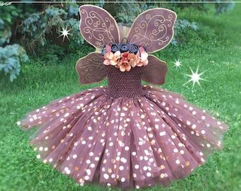 AUTUMN FALL FAIRY Princess Gown for Girls, Dressup Dress & Flower Girl for Disney Theme Wedding Tutu Costume Tinker Bell, Chocolate Brown