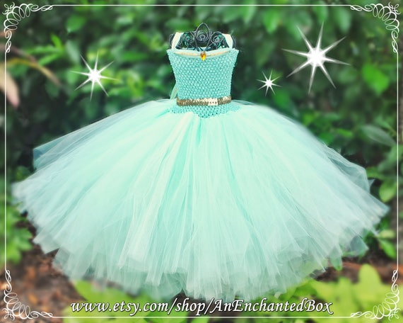 JASMINE Inspired Princess Dress for Girls, Dressup Gown and Flower Girl for Arabia Theme Wedding, Tutu Costume Aladdin, Mint Green Turquoise