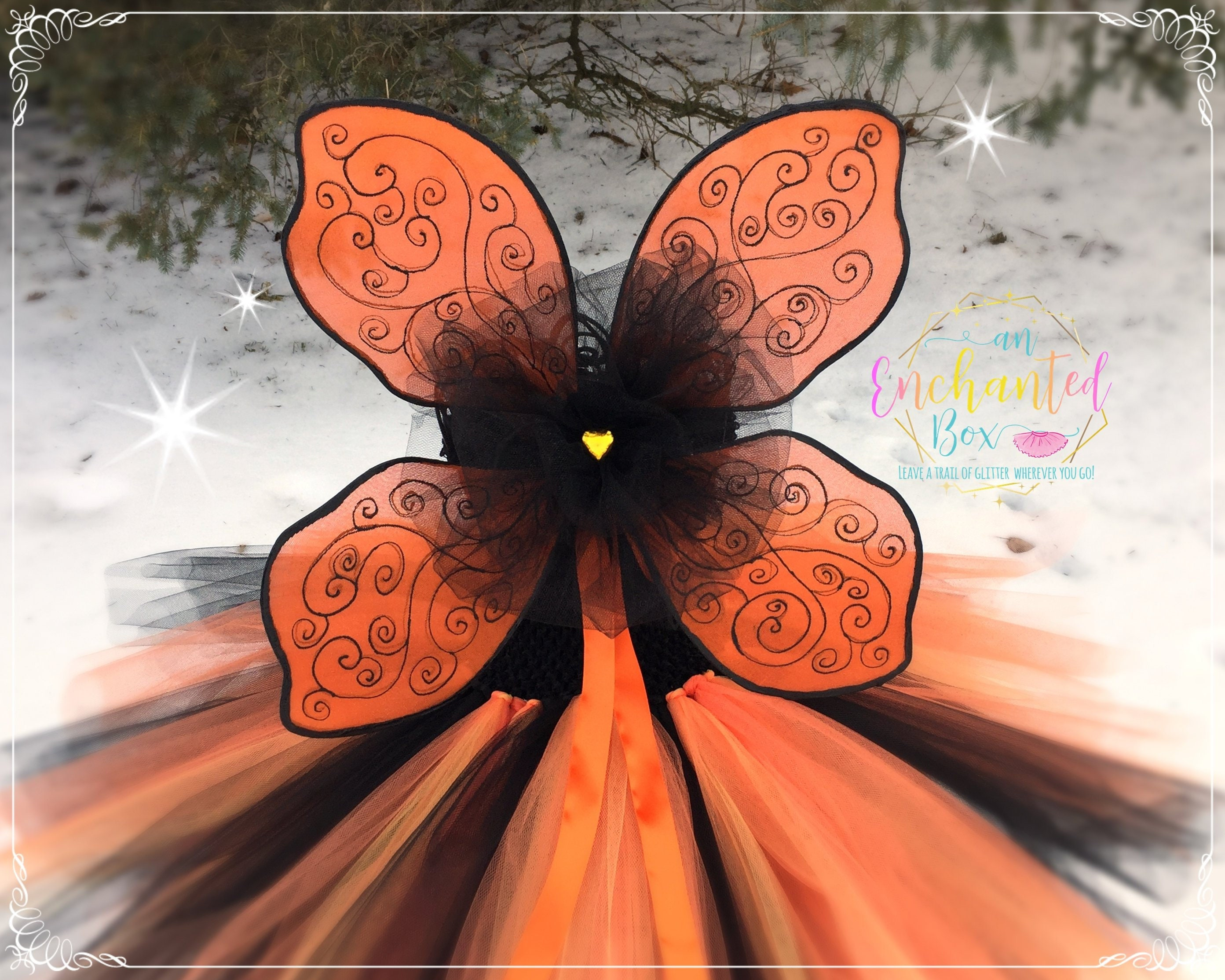 New Orange Tinkerbell Pixie Butterfly Fairy Wing Dress Up Girls Costume