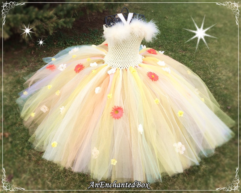 cb6d573d329 IVORY FAIRY PRINCESS Dress for Girls Dressup Gown Flower