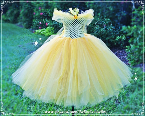BELLE Inspired Princess Dress for Girls Dressup Gown Flower  a8d4149efe5f1