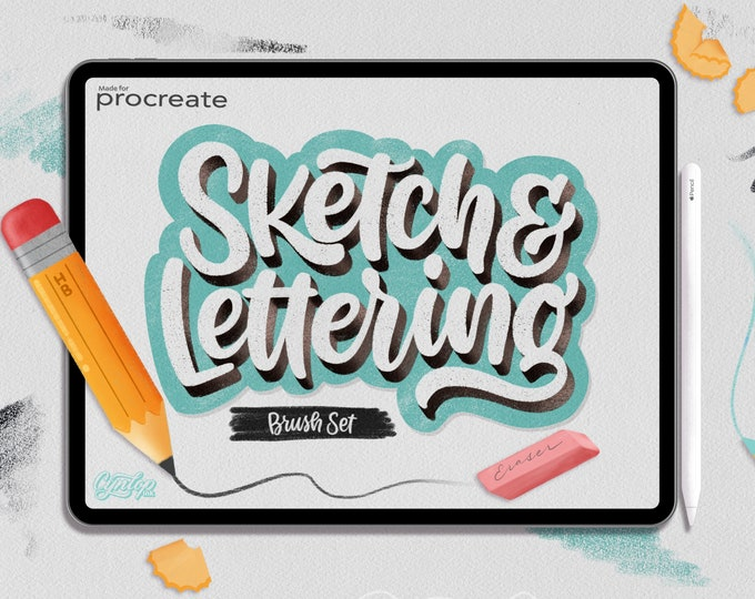 Featured listing image: Procreate Sketch & Lettering Pencil Brush Set